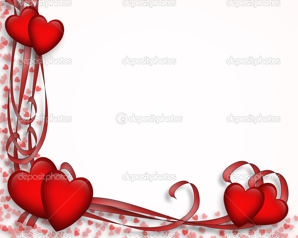 Valentines Day Red Hearts Border Stock Photo Irisangel