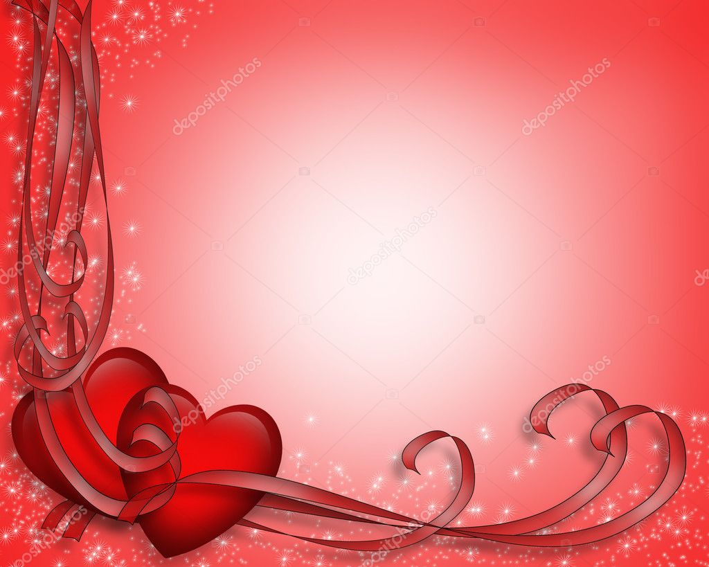 Illustrated red hearts and ribbons for Valentine card, border, frame or background with copy space. — Stock Photo #2241476