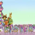 Easter Border eggs bunnies — Stock Photo #2493452