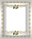 Formal invitation white satin roses — Stock Photo
