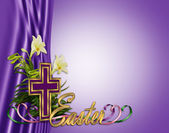 Easter floral border Cross and lilies — Stock Photo