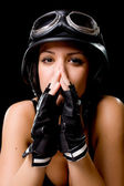 Girl with US Army motorcycle helmet — Stockfoto