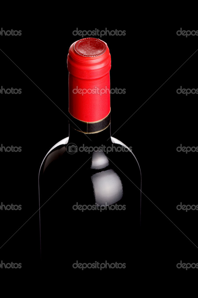Red wine bottle on black, backlit technique — Stock Photo #2088823