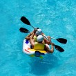 Rafting in an amusement aqua park — Stock Photo