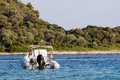 Anchored small boat — Stock Photo