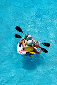 Rafting in an amusement aqua park — Stockfoto