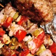 Stock Photo: Barbeque - meat and vegetables
