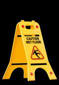 Uwaga mokrej podłodze, znak — Zdjęcie stockowe