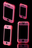 Mobile phone in pink case — Stock fotografie