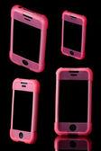 Mobilní telefon v případě růžový — Stock fotografie