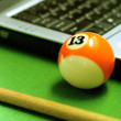 Snooker ball and laptop — Stock Photo
