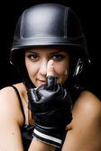 Girl with US Army-style helmet — Stockfoto