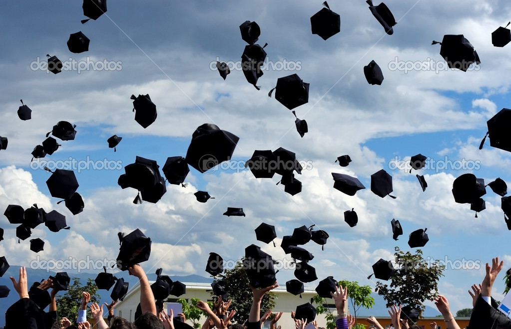 Graduation - flying hats in the air — Stock Photo #2112306