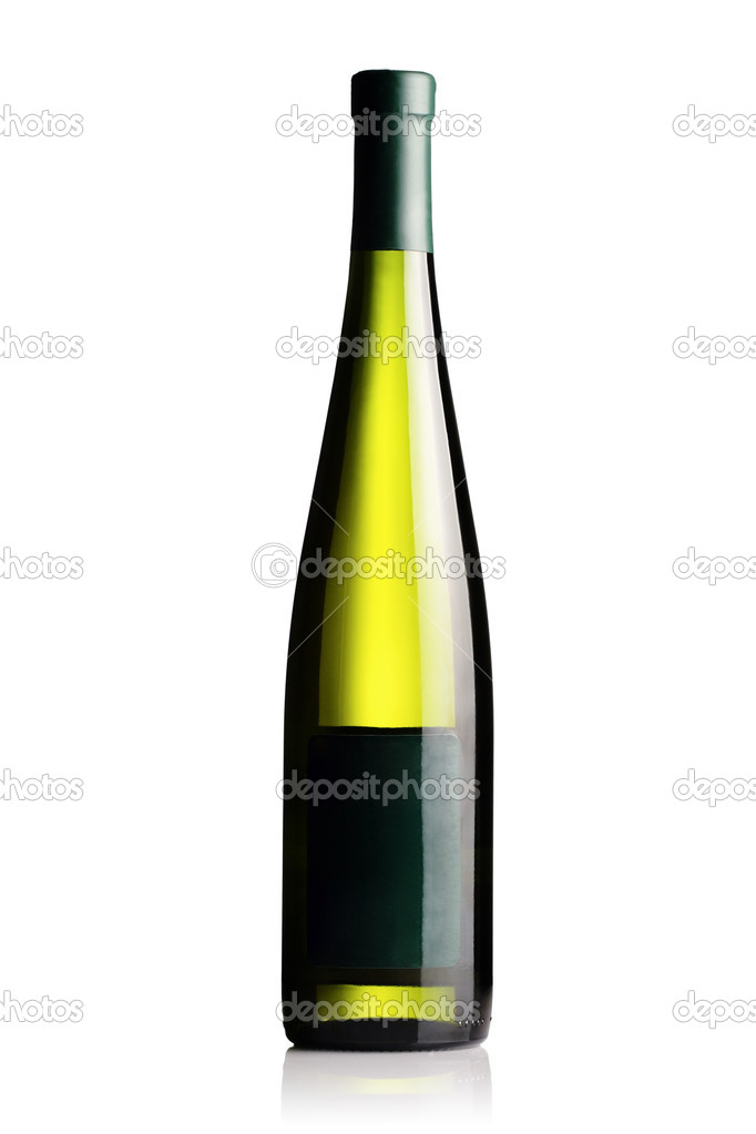 Isolated white wine bottle on white background — Stock Photo #2192116