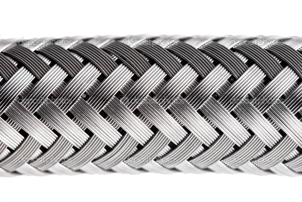 Abstract metal water hose, high detail closeup — Stock Photo #2534794