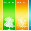 Four seasons trees - Stock Photo