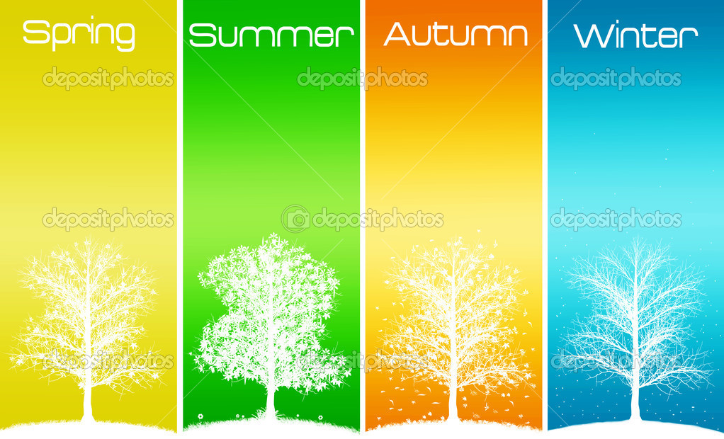 Four seasons trees with text — Stock Photo #2006343