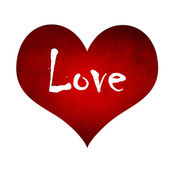 Red heart with Love text — Stock Photo