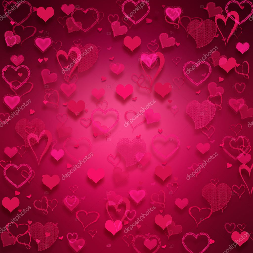 Many pink hearts on pink background.  Zdjcie stockowe #2067236
