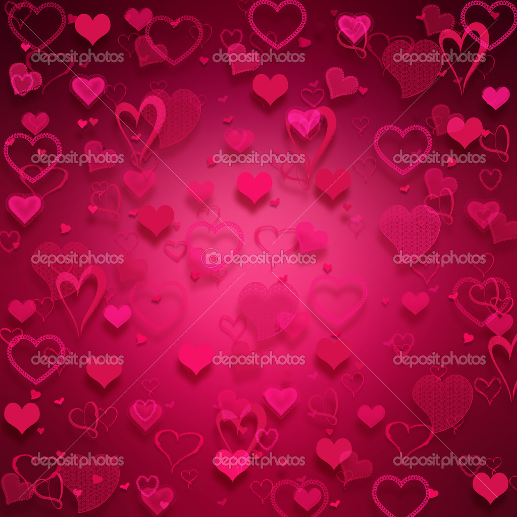 Many pink hearts on pink background. — Lizenzfreies Foto #2067236