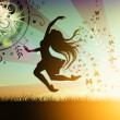Dancing girl illustration with butterfly — Stok fotoğraf