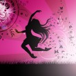 Dancing girl illustration with butterfly — Stock fotografie