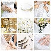 Kolaż dziewięć zdjęcia ślubne — Zdjęcie stockowe