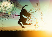 Dancing girl illustration with butterfly — Stockfoto