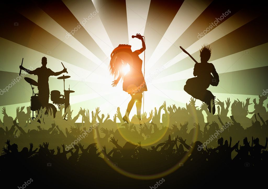 Female singer with crowd — Stock Photo #2075689