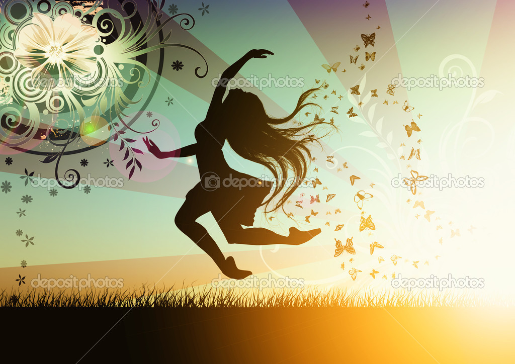 Dancing girl illustration with butterfly  — Stock Photo #2075781