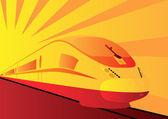 Yellow high-speed train — Stock Vector