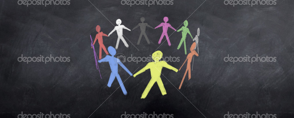 A colorful group of characters pull together as a team — Stock Photo #2050145