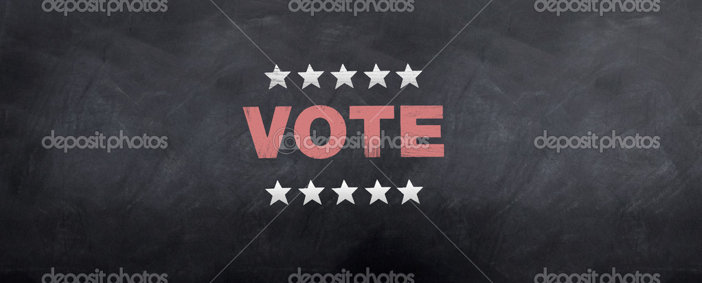 The common stars and voting symbol sketched on a blackboard  Stock Photo #2182045