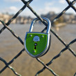 Stock Photo: Green Lock is closed on to fence