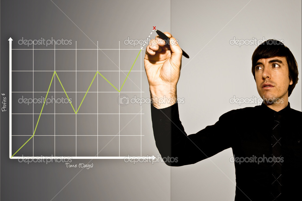 A Business Man Draws Graph of Rising Stock Profits. Indicating on the graph a projection with a red X. — Stock Photo #2578225