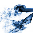Blue smoke isolated on white — Stock Photo