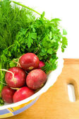 Radish and greenery — Stock Photo