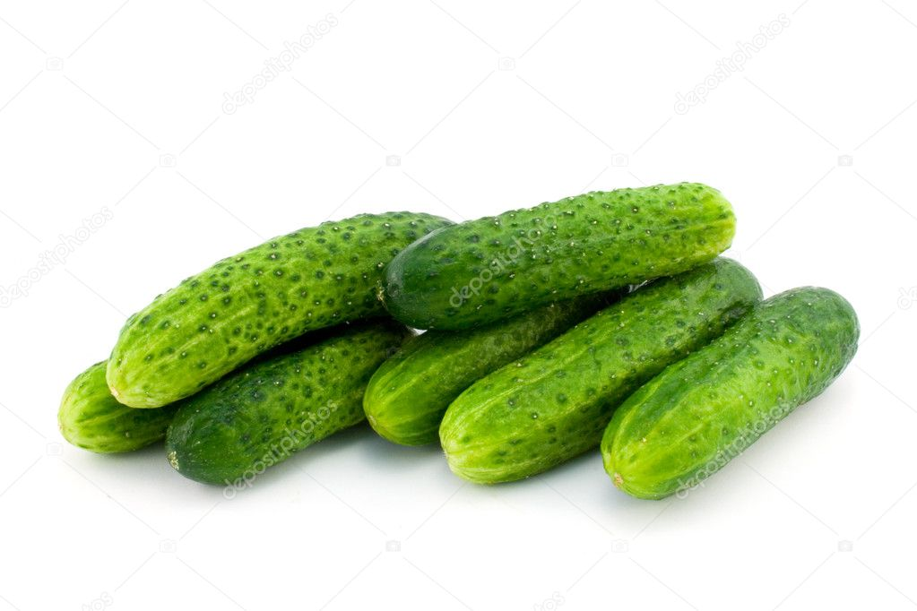 Green cucumbers isolated on white — Stock Photo #2158290