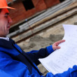 Construction Project Architect Checking — Stock Photo