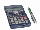 The calculator and pen — Stock Photo