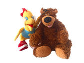 Soft toy a bear and the duckling — Stock Photo