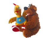 Soft toy a bear and a duck — Stok fotoğraf