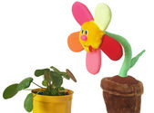 Soft toy a flower in a pot — Stock Photo