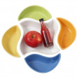 Ceramic plates and an apple — Stock Photo