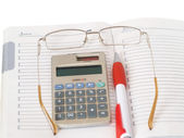 Organizer, calculator, points and pen — Stock Photo