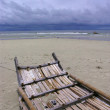 Bamboo raft on beach — Stock Photo #2304858