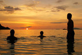 Three waiting for the sunset — Stock Photo