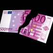 Two parts of a banknote 500 Euro — Stock Photo