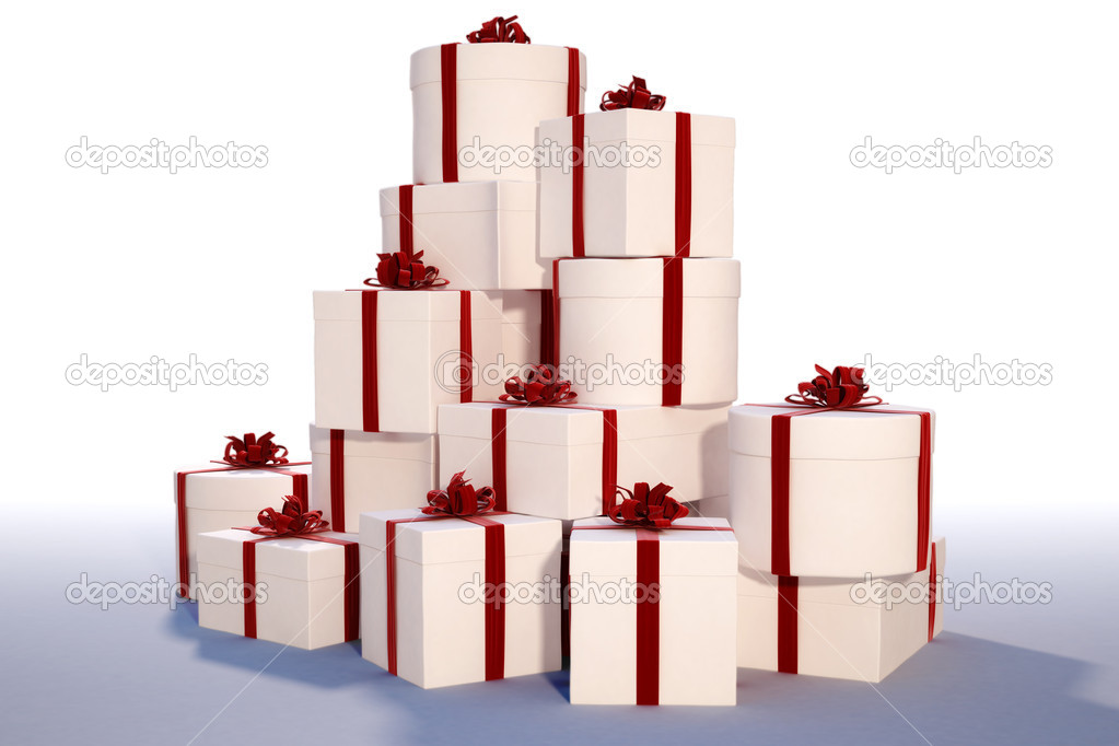 Mountain of gifts, tied with red ribbons. with clipping path — Stock Photo #2071652