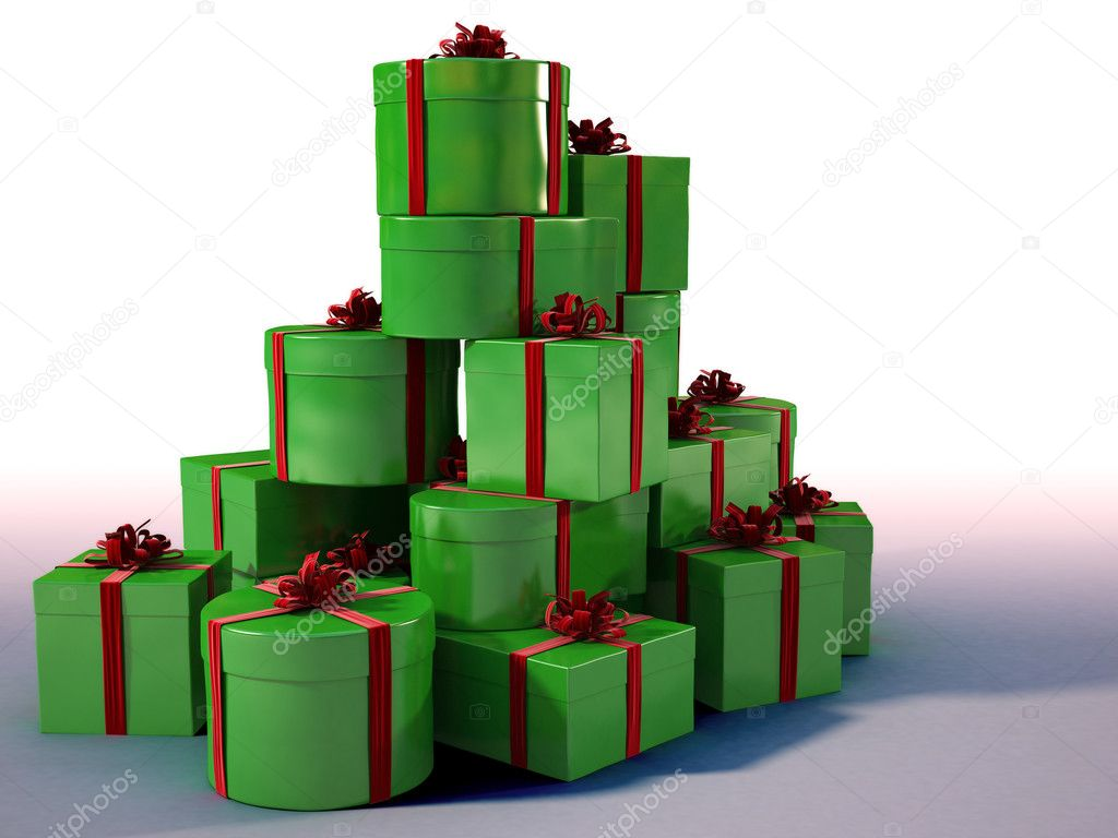 Mountain of gifts, tied with red ribbons. with clipping path — Stock Photo #2071679